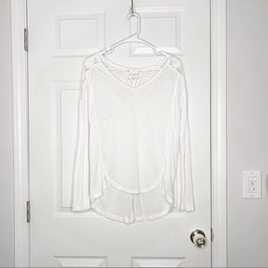 Free People lace back white long sleeve tee